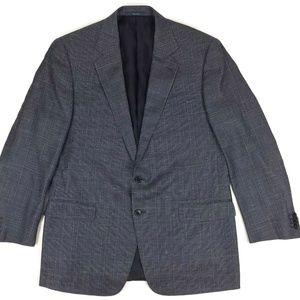 Ermengildo Zegna Silk Wool Linen Plaid Suit Sz 44